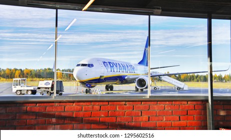 LAPPEENRANTA, FINLAND- SEPTEMBER 03, 2018: Ryanair aircraft Boeing 737-800 at the airport. Airplane, view from airport terminal. Ryanair low cost, low fares airline from Dublin, Ireland. Europe travel
