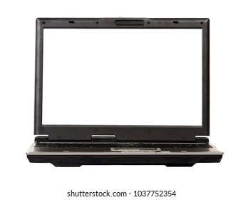 Laptop 3d on screen over white.