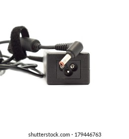 Laptop AC adapter isolated on white background with clipping path