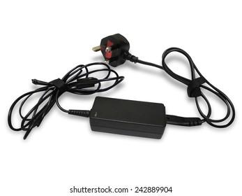 Laptop AC adapter isolated on white background
