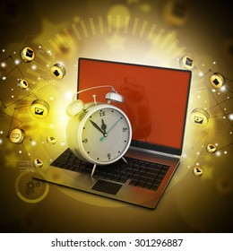 Laptop with alarm clock