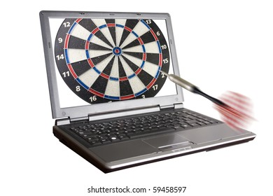 laptop with an arrow going towards it