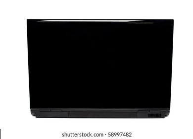 laptop back view isolated on white