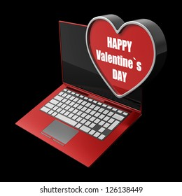 laptop with with big heart. isolated on black background High resolution 3d render