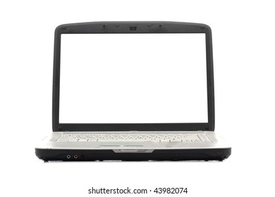 Laptop. Blank display. Isolated object.
