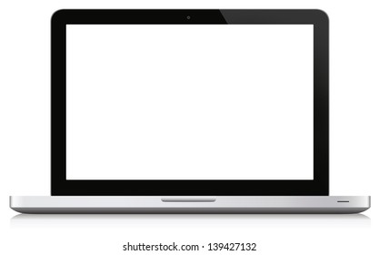 Laptop with blank display. Isolated on white with reflection at the bottom.