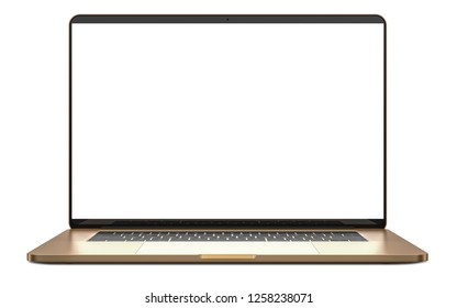 Laptop with blank screen isolated on white background, gold aluminium body. High detailed.
