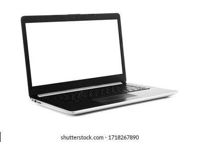 Laptop with blank screen isolated on white background - mockup template, all laptop in focus