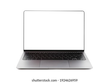 Laptop with blank screen isolated on white. Mockup for design