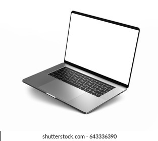 Laptop with blank screen isolated on white background, black aluminium body.Whole  in focus. High detailed. 3d illustration.