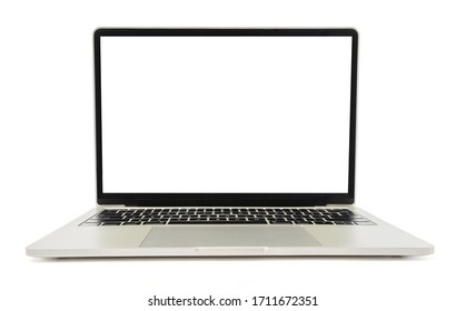 Laptop with blank screen or mock up computer for apply screen display on web and app isolated on white background with clipping path