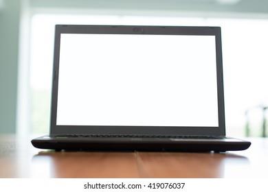 Laptop blank screen on desk