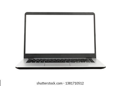 Laptop with blank screen on white background