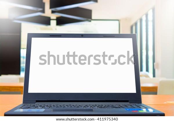 Laptop blank screen on work desk