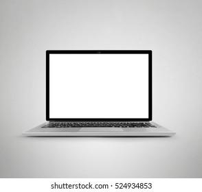 Laptop with blank screen white aluminium body