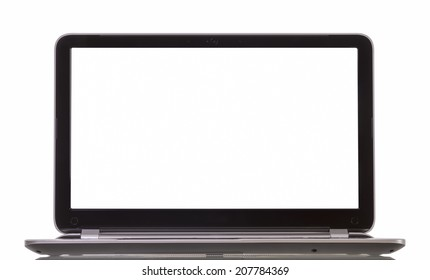 Laptop with blank white screen on white background