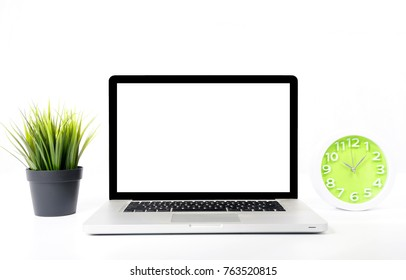 Laptop with blank white screen on desk isolated on white background.  Conceptual image.