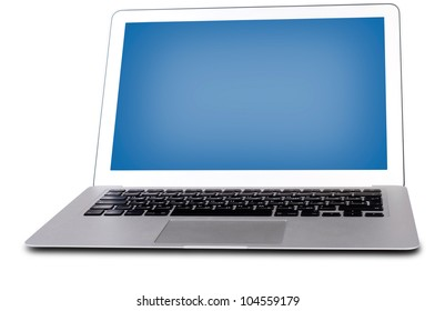 laptop with a blue screen, isolated on white