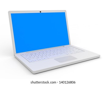 Laptop with blue screen on white background. 3D illustration.