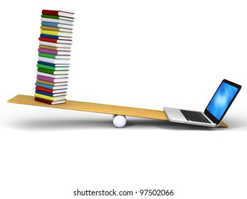 Laptop and books balancing with laptop being heavier