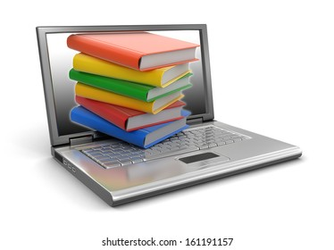 Laptop and books (clipping path included)