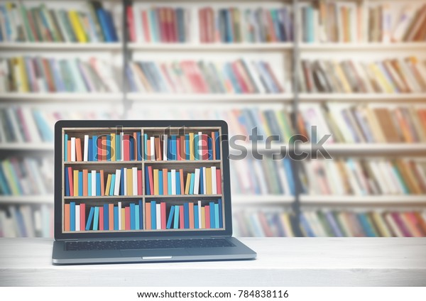 Laptop with bookshelves on its screen is standing on a white desk. A library background. A side view. 3d rendering mock up toned image