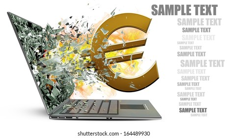 laptop with broken screen on fire symbol of currencies isolated on white background High resolution 3d