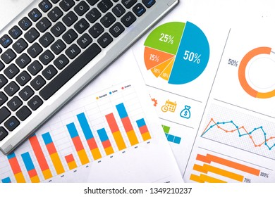 Laptop with business charts, graphs, statistic and documents background for education and business concepts