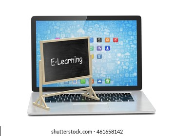 Laptop with chalkboard, e-learning, online education concept. 3d rendering.