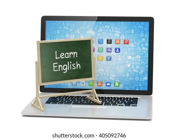 Laptop with chalkboard, learn english, online education concept. 3d rendering.