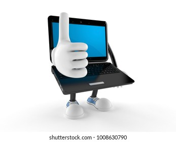 Laptop character with thumbs up isolated on white background. 3d illustration