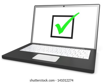 Laptop with checkbox on screen on white background. 3D illustration.