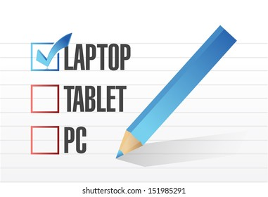 laptop checkbox selected over other technology tools. illustration design