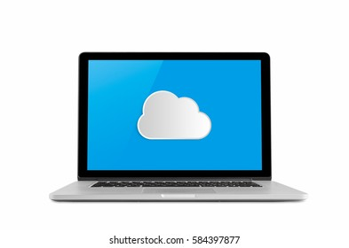 Laptop with cloud concept isolated on white background.