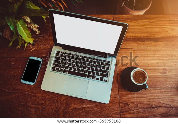Laptop Coffee Shop Office Desk Typing Stock Photo Edit Now 563953108