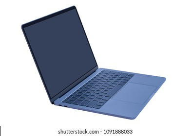 Laptop computer with  blank screen closeup mockup isolated on white background.