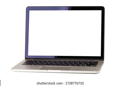 Laptop computer with blank screen isolated on white background with clipping path.