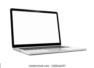 Laptop computer with blank white screen isolate on white background. screen mockup template
