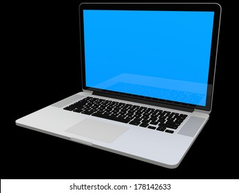 Laptop computer blank white screen isolated on black background