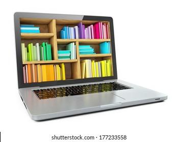 Laptop Computer Bookcase with Multicolor e-books isolated on White Background. E-learning education or internet library