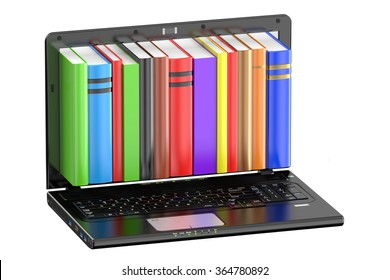 Laptop computer with colored books isolated on white background