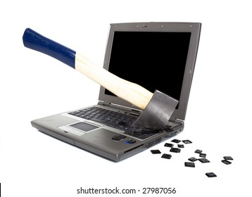 Laptop Computer Damaged with Axe - Concept of Anger, Frustration, isolated on white