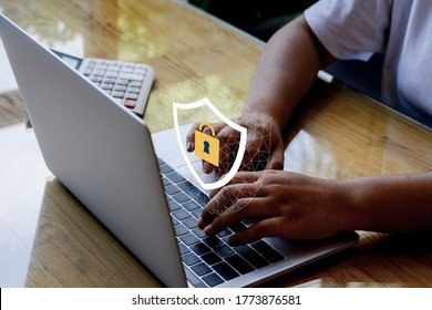 Laptop Computer with Data protection, Cyber security, information safety and encryption concept. internet technology and business concept, Mockup with copy space.