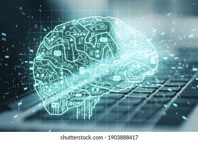 Laptop computer with glowing circuit brain. Artificial intelligence and communication concept. Double exposure. Close up