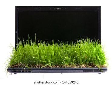 Laptop computer with  green grass growing on keyboard isolated on white.