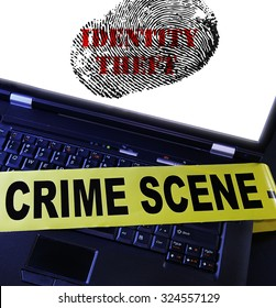 laptop computer with Identity Theft fingerprint and crime scene tape