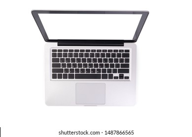 laptop computer mock up with empty blank white screen isolated on white background with clipping path, top view. modern computer technology concept