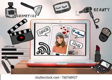 Laptop computer mockup with beauty and cosmetic illustration doodles. Beauty vlogger and Modern digital lifestyle concept for digital marketing and influencer social media platform marketing.