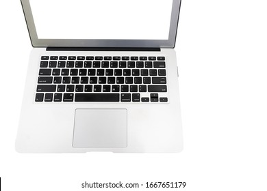 Laptop computer with monitor copy space background isolated.