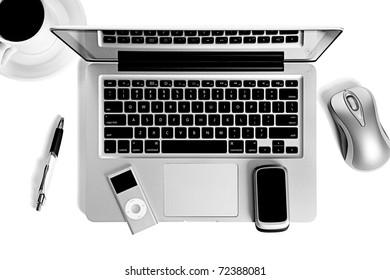 Laptop computer office still life